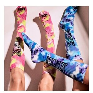 VS Pink tye dye knee high socks NWT